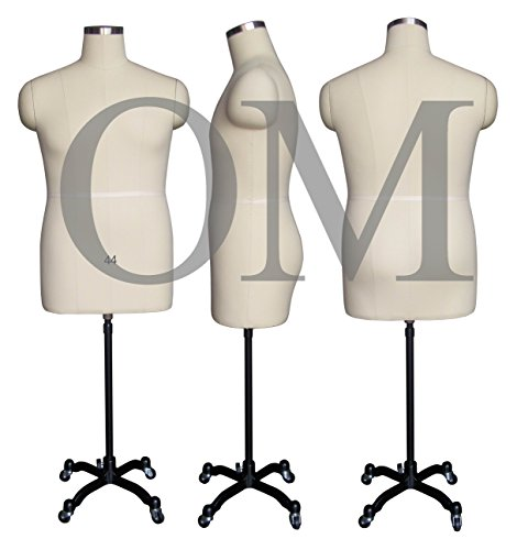 Male Fully Pinnable Sewing Dress Form Mannequin With Magnetic Shoulders On Rolling Base Size 44 Made by OM® (Magnetic Series) (Sewing Mannequin Male compare prices)