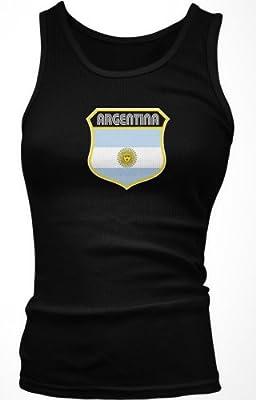 Argentina Crest Retro International Soccer Juniors Tank Top, Argentine National Pride Juniors Boy Beater, X-Large, Black