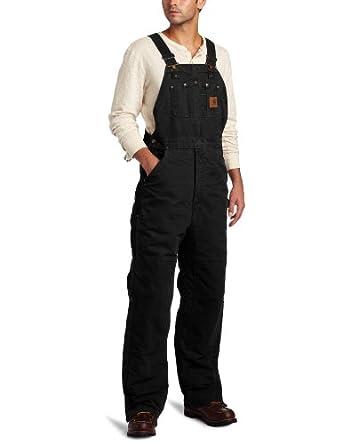 Carhartt Men's  Quilt Lined Sandstone Bib Overalls,Black,32 x 28