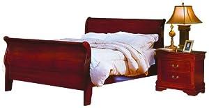 Full Homelegance Dijon Solid Hardwood Sleigh Bed in Cherry Finish