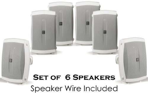 "Yamaha All Weather Indoor & Outdoor Wall Mountable Natural Sound 130 Watt 2-Way Acoustic Suspension Speakers (Set Of 6) White With 6.5"" High Compliance Woofer, 1"" Pei Dome Tweeter & Wide Frequency Response + 100 Ft 16 Gauge Speaker Wire - Compatible With"