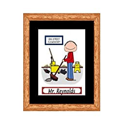Janitor / Custodian Cartoon Print - Personalized