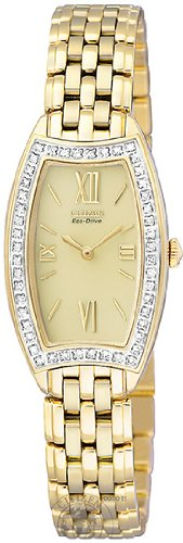 CITIZEN Watch:Women's Silhouette Eco-Drive Diamond Gold Tone Stainless Steel Images