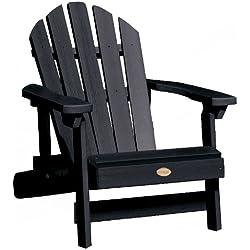 Highwood Hamilton Folding and Reclining Adirondack Chair, Kid Size, Black