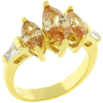 2.5 Carat (ct, cttw, ctw) Three Stone Champagne Marquise Cut 14k Gold Plate Cubic Zirconia CZ Anniversary Ring (Size 5,6,7,8,9,10)