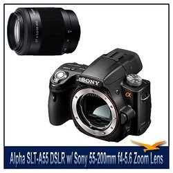 Sony Alpha DSLR-SLT-A55 Digital Camera, 16.2MP, Built-In GPS, 3