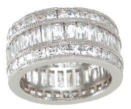 New 925 Sterling Silver CZ Triple Eternity Ring