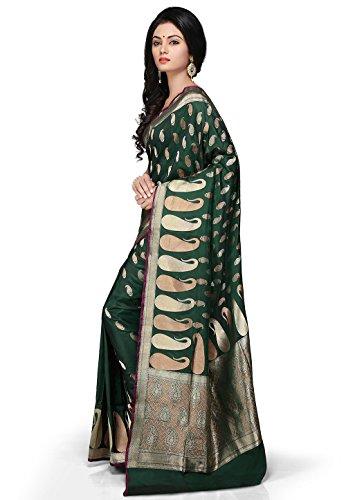 24bebf1bdc3047 Utsav Fashion Women's Dark Forest Green Pure Banarasi Silk Handloom Saree  with Blouse