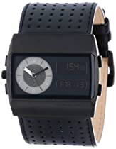 "Vestal Unisex MCW026 ""Monte Carlo"" Stainless Steel Watch with Black Leather Band"
