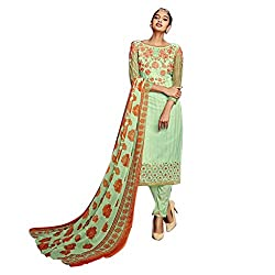 Pulp Mango Media's Exclusive Ethnic Wear Collection of Georgette Heavily Embroidered, Light Green Unstitched dress materials.