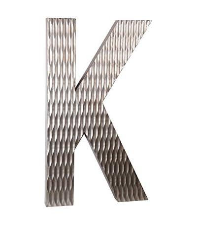 Privilege Large Wood Letter K Design, Silver
