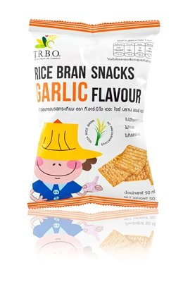 T.R.B.O.Rice Bran Snacks Garlic Flavor 50 Grams High Quality Pack Of 6