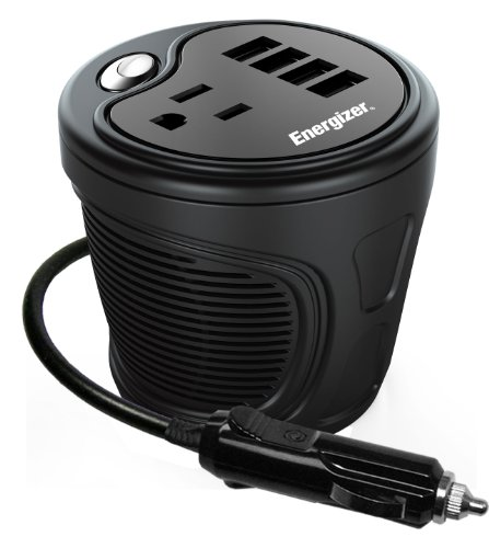 ENERGIZER 180W Cup Inverter 12V DC cigarette lighter to 120V AC to power laptop notebook & more w/ 4 USB ports 2.1A shared compatible with iPad & more