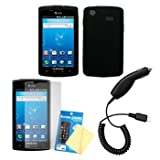 Cbus Wireless Black Silicone Case / Skin / Cover, LCD Screen Guard / Protector & Car Charger for Samsung Captivate SGH-I897