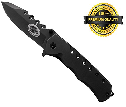 Sportsman Folding Knife with 5 Year Guarantee! This Premium Titanium Spring Assisted Opening Pocket Knife is Best for Camping -