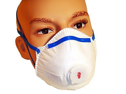 Con maschera, respiratore ffp2 V Warrior polvere usa e getta, con valvola, confezione da 20