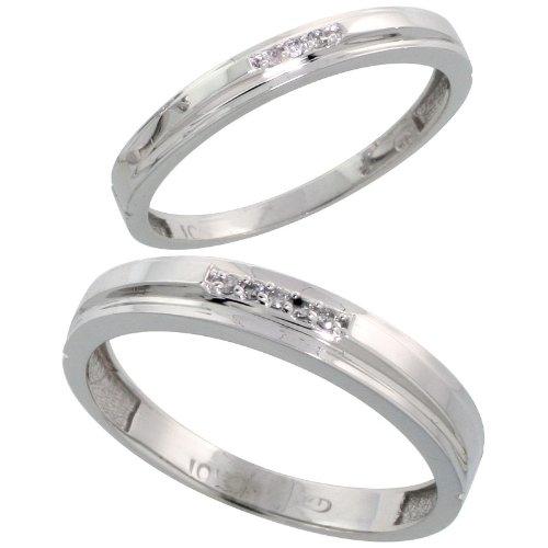 14ct White Gold 2-Piece Diamond Wedding Band Set, His (4mm)  &  Hers (3mm) Ladies Size J