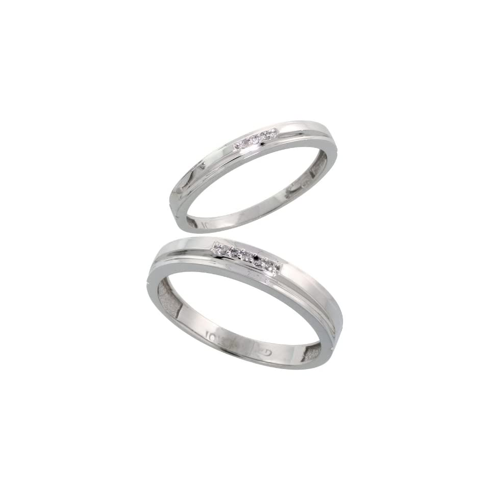 10k White Gold Diamond Wedding Rings Set for him 4 mm and her 3 mm 2 Piece 0.05 cttw Brilliant Cut, Ladies Size 8