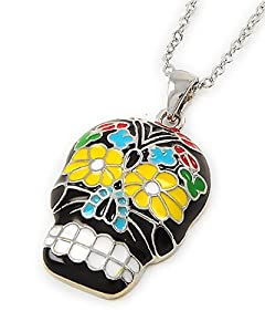 Black Multi Color Halloween Skull Pendant Necklace