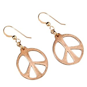 Medium Peace Symbol Peace Bronze Earrings on French Hooks