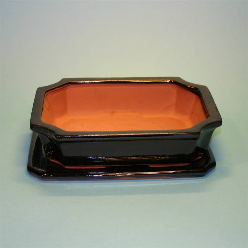 Bonsai Ceramic Pot with Saucer Black