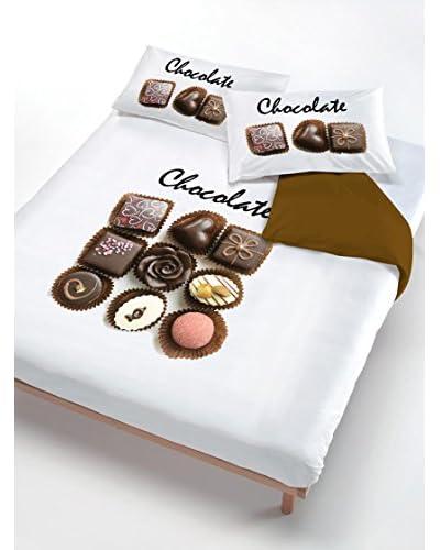 ITALIAN BED LINEN Parure Copripiumino Chocolate