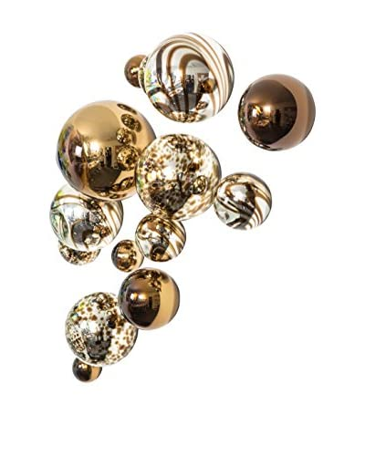 Set of 13 Glass Wall Spheres, Silver/Chocolate Plated