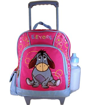 Disney Eeyore Kids Size Rolling Backpack With Luggage Wheels