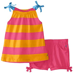 Nautica Baby-Girls Infant Rugby Stripe Trapeze Top and Bubble Short Set from Nautica
