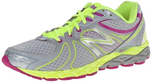New Balance Women's W870V3 Glow In The Dark Running Shoe,Grey/Yellow,8 B US