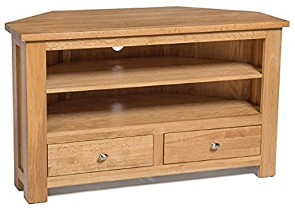 The Best  Solid Waverly Oak 2 Drawer Corner Storage TV Unit Stand Cabinet Cupboard