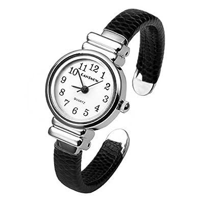 Top Plaza Kid's Girls Watch Women Chic Simple Bracelet Cuff Watch Gift, Black