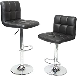 Roundhill Furniture Swivel Black Bonded Leather Adjustable Hydraulic Bar Stool, Set of 2