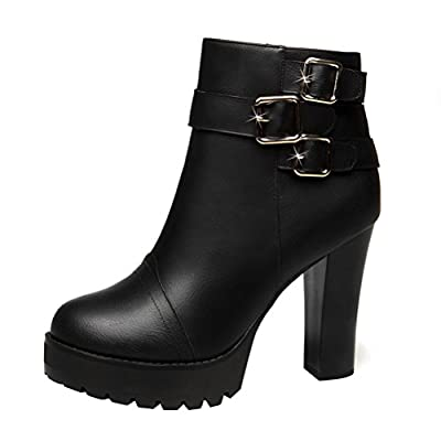 Christmas T&Mates Womens Faux Fur Side Zipper Buckles Strap Platform Chunky High Heel Ankle Booties