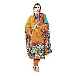 Like a diva JINAAM Orange Cotton Party Wear Salwar Kameez / Churidar Dress material