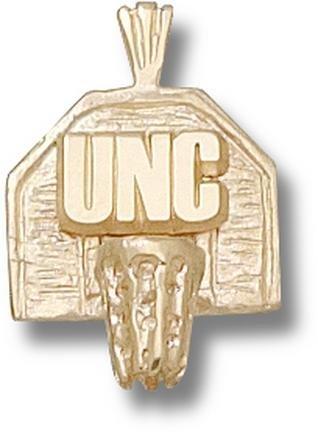 North Carolina Tar Heels UNC Basketball Backboard Pendant - 14KT Gold Jewelry by Logo Art