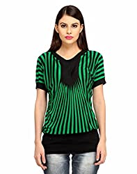 Snoby Green stylish Crepe Top in Stripes (SBY1011)