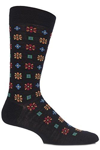 Richard James Men'S 1 Pair Merino Wool Frederick Edwardian Floral Socks 11-13 Black front-90911