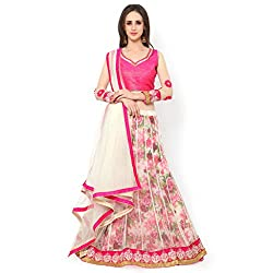 Bhelpuri Women White Soft Net Lehenga Choli