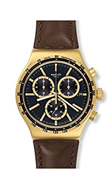 buy Swatch Men'S Irony V'Dome Black Dial Brown Leather Strap Chronograph Watch Yvg401
