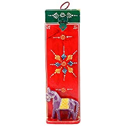 Rajasthan Emporium And Handicrafts Wooden Horse Head Painted Wine Bottle Holder (15 Inches x 6 Inches, Red)