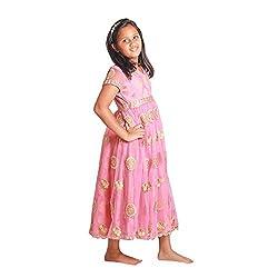 Sparkling Threads pink color long dress for kids