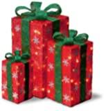 Set of 3 Tall Red Sisal Gift Boxes Lighted Christmas Yard Art Decorations