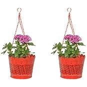 Trust Basket Set Of 2 Lace Hanging Basket- Red