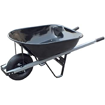 United General WH89693 Steel Tray Wheelbarrow, 6 Cubic-Feet, 20-Gallon