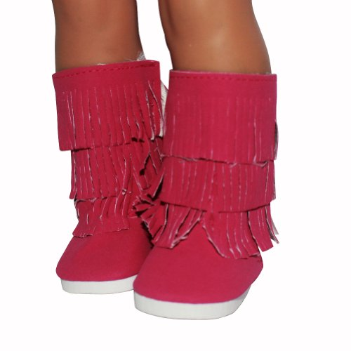 """Agd Palace Fits 18"""" American Girl Doll Clothes Shoes Boots Tassel Rose Red Style"""