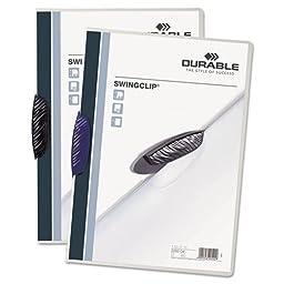 Durable Swingclip Polypropylene Report Cover, Letter Size, Clear/Dark Blue Clip, 25/Box