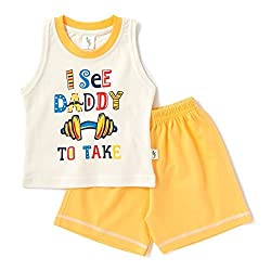Cucumber Sleeveless I See Daddy Print T-Shirt & Set - Yellow (3 to 6 months)