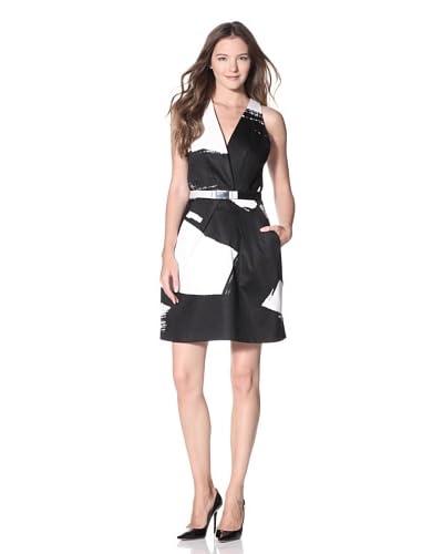 KaufmanFranco Women's Brush Stroke Print Dress  [Onyx/White]