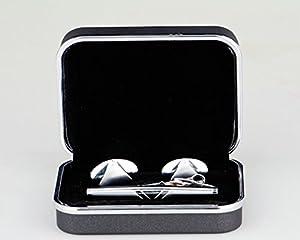 Lodestar Silver Milky Way boutons de manchette classiques et pince à cravate élégante, ensemble en boîte-cadeau: Oval Vest DE (ACT-04)